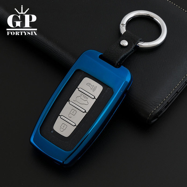 Zinc Alloy Car Key Case Leather Keychain For Hyundai Elantra Ix35
