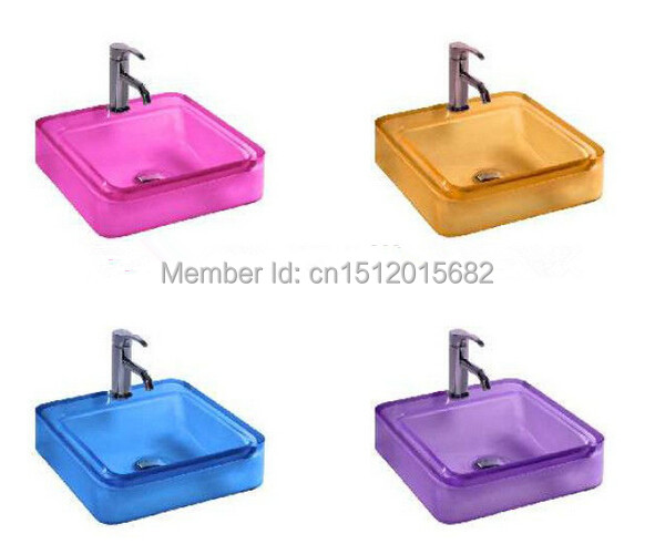 All New Colored Resin Acrylic Hand Wash Basin Cloakroom Vanity Sink Counter Top Square Vessel