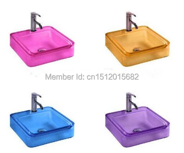 All New Colored Resin Acrylic Hand Wash Basin Cloakroom Vanity Sink Counter Top Square Vessel Sink 2018 Basin Bathroom Sink Sink Oilsink Basin Aliexpress