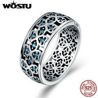 WOSTU Authentic 925 Sterling Silver Openwork Lucky Clover Blue Zircon Stone Wide Finger Ring For Women