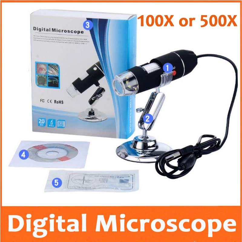 500X 1000X LED Electronic Magnifying Glass Pocket <font><b>USB</b></font> Digital <font><b>Microscope</b></font> with Light for Beauty Salon Skin Detection Phone Repair image