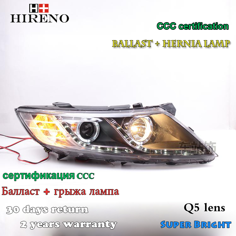 Hireno Headlamp for 2011-2015 KIA K5 Optima Headlight Assembly LED DRL Angel Lens Double Beam HID Xenon 2pcs headlight for kia k2 rio 2015 including angel eye demon eye drl turn light projector lens hid high low beam assembly