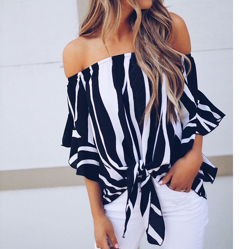 Sweet Off Shoulder Chiffon Blouse Shirt 2018 Women Summer Stripe Shirt Half Butterfly Sleeve With Bow Ladies Blouses WS7606T