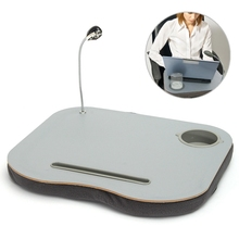 New Portable Laptop Desk Bed Laptop Cushion Knee Lap Computer Reading Table Tray Cup Holder New Laptop Stand With LED Lamp