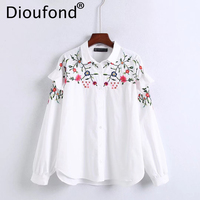 Dioufond Floral Embroidered Blouse Shirt 2017 Women White Tops Casual Long Sleeve Blouses Woman Office Cotton