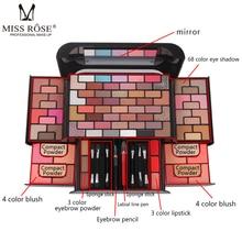 цены MISS ROSE 68 Color Eyeshadow Palette Waterproof 8 Color Blush 4 Color Powder 3 Color Eyebrow Powder Lipstick Makeup Set Cosmetic