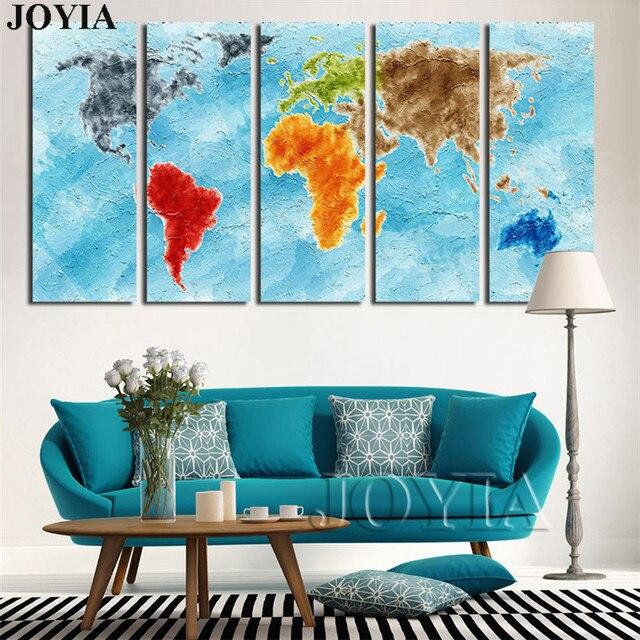 5 panel leinwand kunst weltkarte wandbild drucken lfarbe bunte blau global ocean gem lde f r. Black Bedroom Furniture Sets. Home Design Ideas