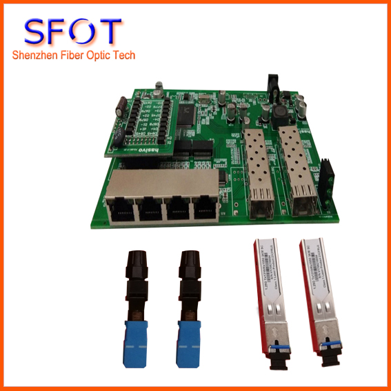 4-port POE reverse Switch board kit, contain 2pcs SC 3KM SFPs and 2pcs SC/UPC fast connector