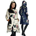 Novo 2016 Inverno Mulheres Jaqueta Casual Com Capuz Grosso Longo Para Baixo Parka Pato Branco Para Baixo Floral Impresso Jaqueta casaco Feminino Z398