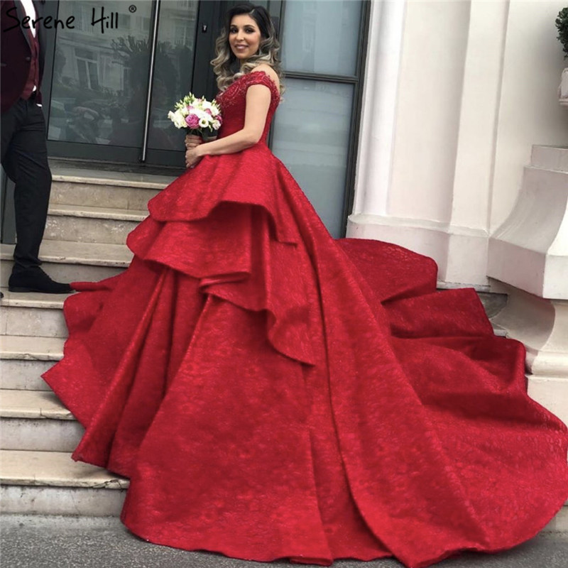 Dubai Luxury Wine Red Vintage Wedding Dresses 2019