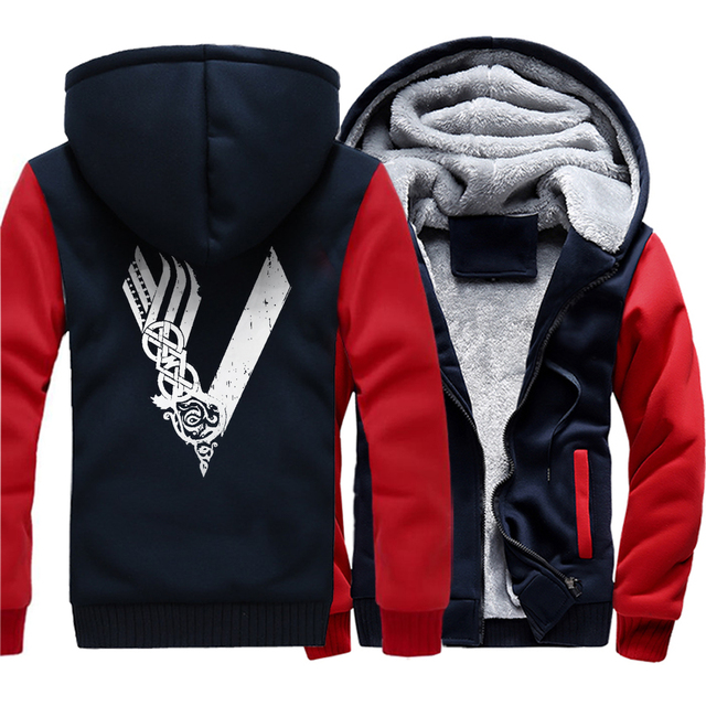 Son of Odin Viking hooded jackets warm Men long sleeve zipper thicken Clothes sweatshirts Vikings Odin man's tracksuits 2019