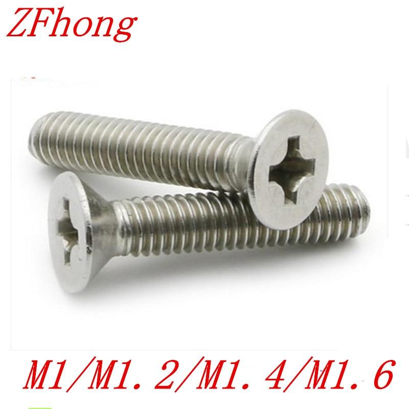 500PCS M1 M1.2 M1.4 M1.6 Stainless Steel 304 Flat countersunk head machine screw m1 2 304 stainless steel phillips pan head machine screw