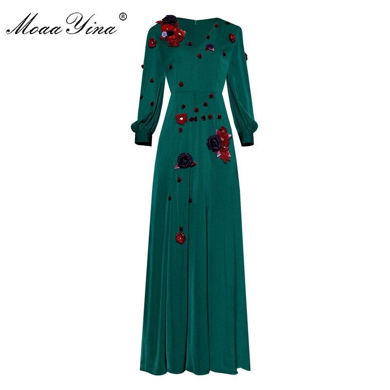 Moaa Yina Fashion Designer Runway dress Spring Women Dress V-neck Lantern Sleeve Applique Crystal Prom Party Elegant Dresses
