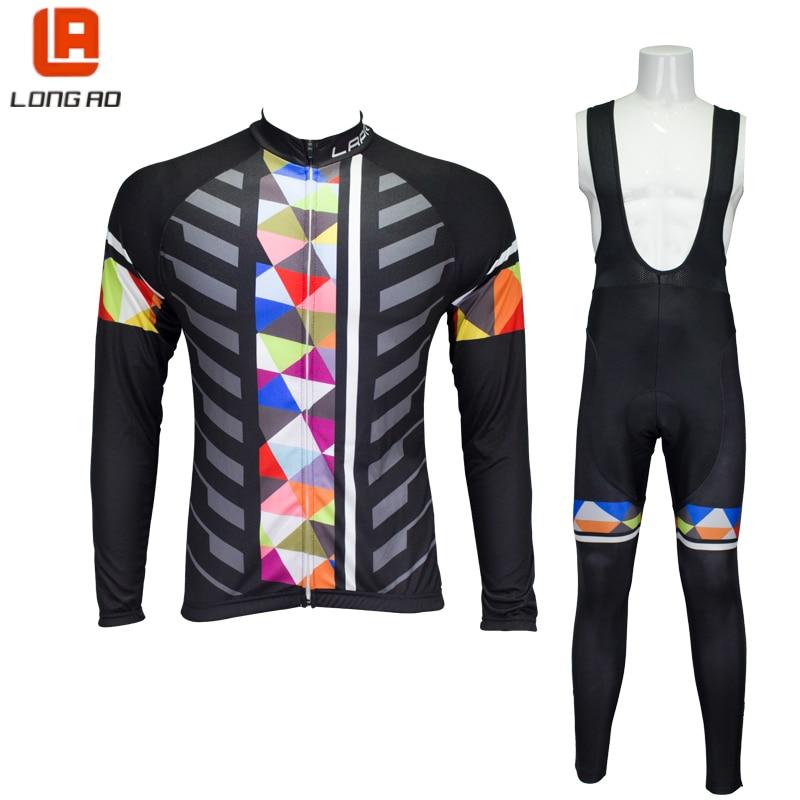 LONGAO 2017 Cycling set men Cycling jersey Long sleeve bike set Thrasher clothing Roupa ciclismo Traje