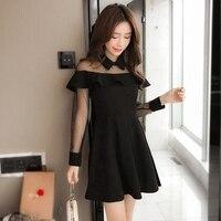 Net Yarn Splicing Ruffles Dresses Women Summer Dress Black Colors A Line Mini Dress