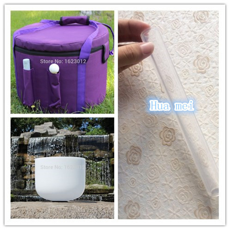 12 inch Crystal Singing Bowl for sound healing with Carry bag for crystal bowls 7 inch and 9 inch 2pcs frosted crystal singing bowls