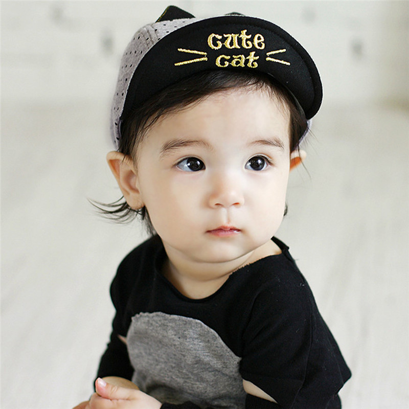 Spring Summer Baby Embroidery Cat Hats Baseball Cap Baby Boy Beret Baby  Girls Lovely Sun Hat Black Grey 62e166b29d0
