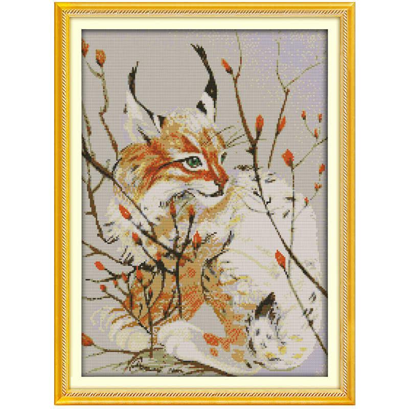 11/14/16/18/28แมวFairyรูปแบบชุดปักครอสติชชุดขายส่งสัตว์Cross-Stitchชุดเย็บปักถักร้อย