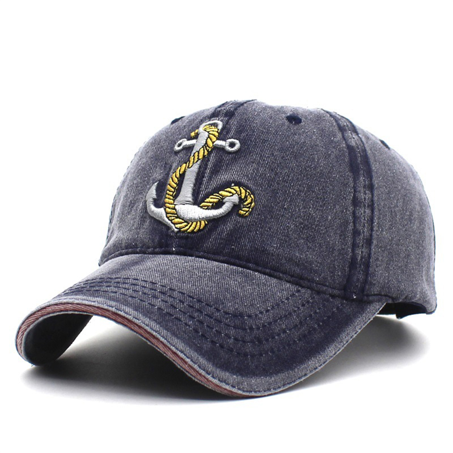 Women's Baseball Caps Washed Soft Cotton Baseball Cap Hat Vintage Dad Hat 3d Embroidery Casual Sports Cap Anchor Snapback Black Apparel Accessories