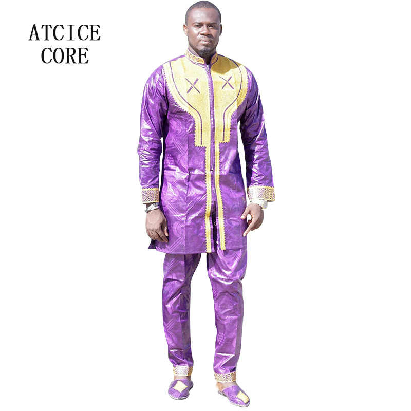 アフリカ服ファッションデザイン送料無料アフリカバザン刺繍デザイントップとパンツ LC078 #