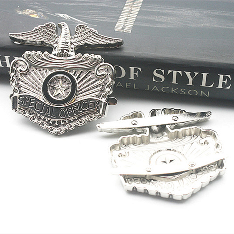 Rare Retro US MJ Michael Jackson Metallic Silver Eagle Metal Stainless Steel Special Officer Badge Collection