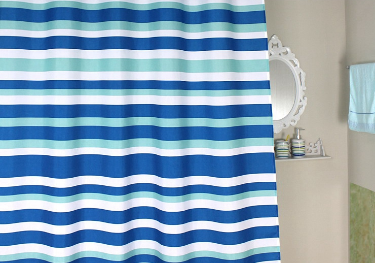 Sky Blue Striped Shower Curtain Thick Waterproof Polyester Fabric Shower Curtain European