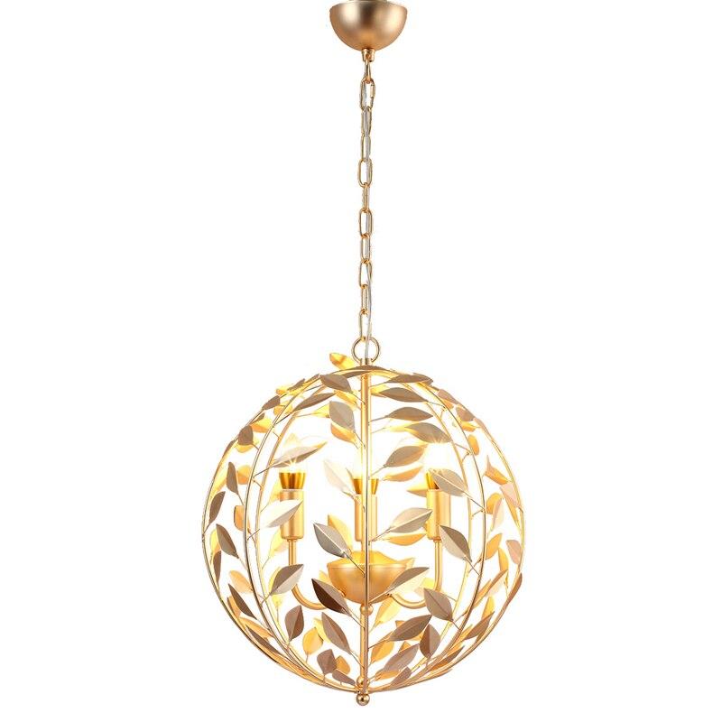 Nordic post modern gold globe pendant lamp creative leaves pendant light living room restaurant kitchen home lighting fixture