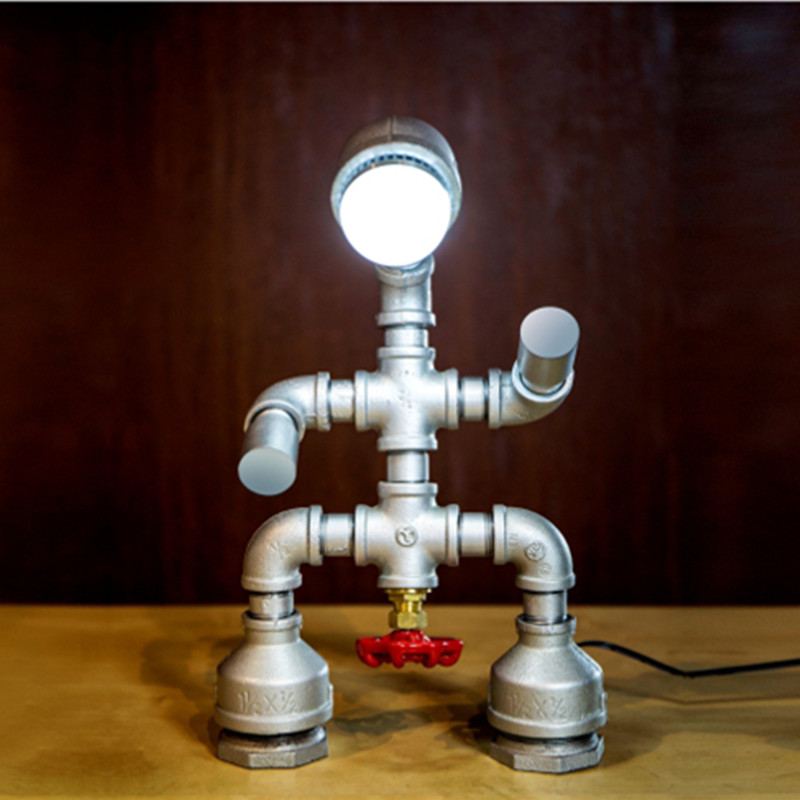 Industrial Country Retro Water Pipe Desk Lamp Vintage Table Lamps LED Light Table Light Bulbs Fit for Cafe Bar industrial vintage table lamp simple water pipes desk light cafe bar small table light contain led bulbs mesa loft art lighting