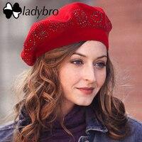 Ladybro حياكة الصوف قبعة البيريه سيدات سيدة القبعات أنثى مزدوجة الطبقات الراين أعلى شقة الشتاء الدافئة الناعمة بونيه كاب