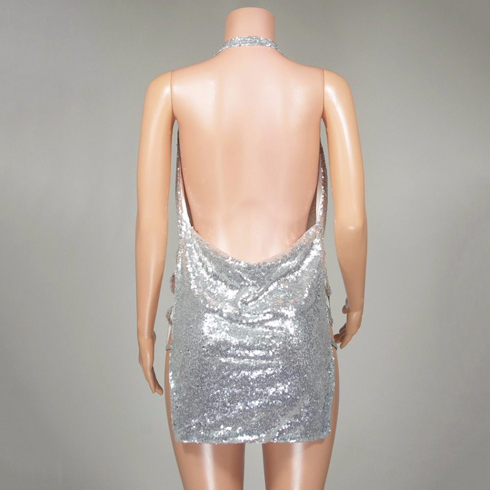 8e3db941ea8 Sexy Shiny Backless Summer Dress Women Halter Deep V Neck Silver Sequins  2018 Women Mini Dresses Party Dress Vestidos Beach Wear-in Dresses from  Women s ...