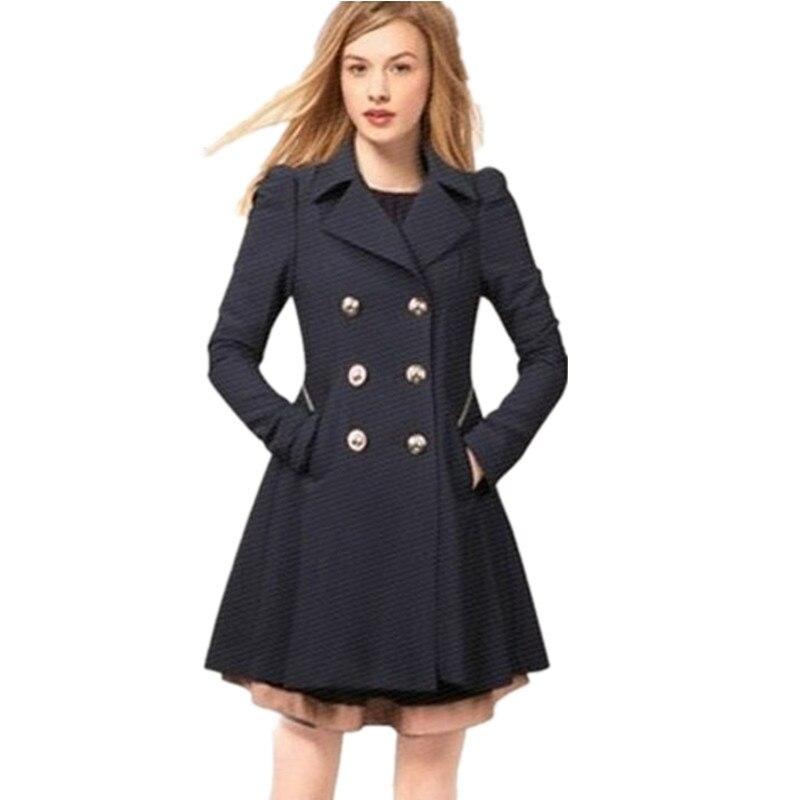 Femmes Triple black Taille Manteau De Mode 2xl Couleur navy Beige Plus Blue Manteau Pardessus Tranchée Survêtement Tt822 Mince Casual Solide Poitrine Trech dnWA74dX