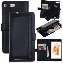 Ретро гибридный Чехол-книжка кожаный кошелек с молнией Чехлы для Samsung Galaxy S5 S6 S7/Edge iPhone 6 6 S/7 Plus Чехол чехол-накладка на заднюю панель телефона Капа