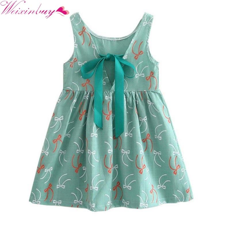 2017 Children Kids Girl Summer Dress Kids Teens Sleeves Printing Pattern Cotton Dress Clothes Vestidos Hot