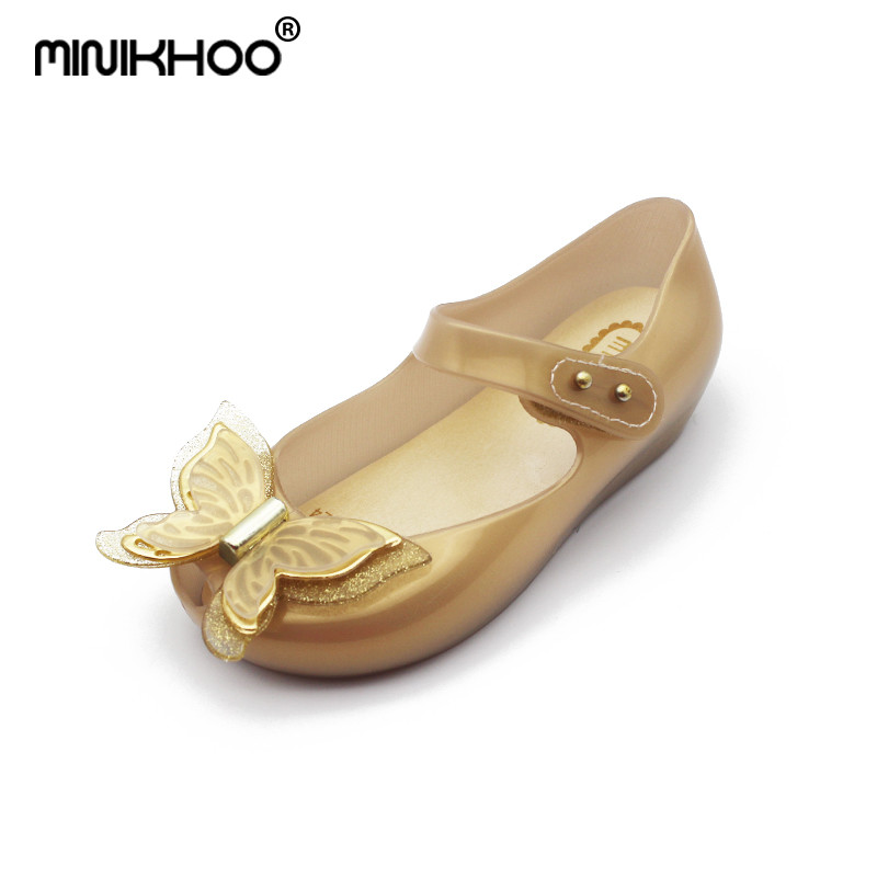Mini Melissa 2018 HOT SALE 3D Butterfly Jelly Sandals Jelly Children Sandals Princess Shoes Fashion Sandals Girl Mini Melissa