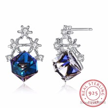 blue cube Crystals From Swarovski stud earring 925 Sterling Silver Luxury snowflake Earring Korea cute party female fashion gift(China)