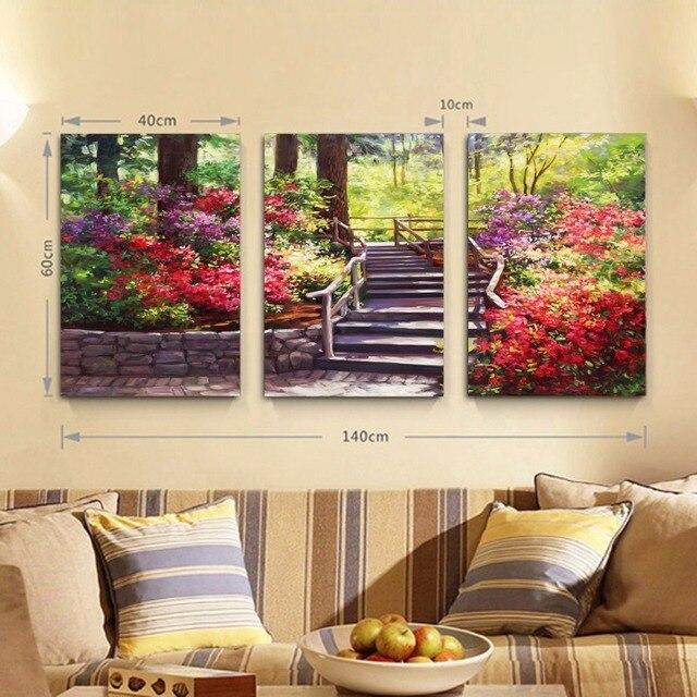 3 pièces jardin moderne toile peinture mur photos pour salon art ...
