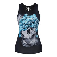 2017 Summer Bursts Style Women Skulls Digital Printing Back Hollow Out Female Vest Plus Size O