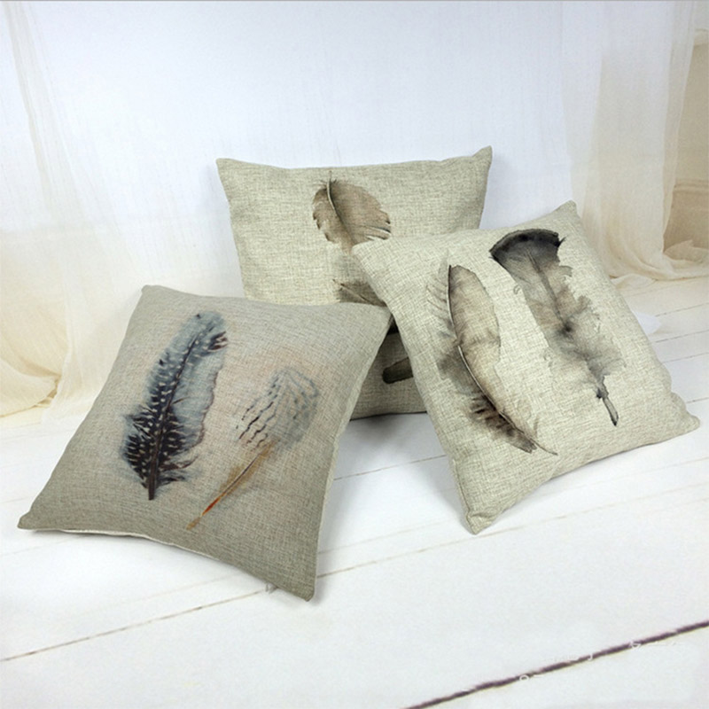 Decorative Linen Pillows : Aliexpress.com : Buy Feather as a Pattern Pillow Linen Cushion Decorative Pillows Christmas ...