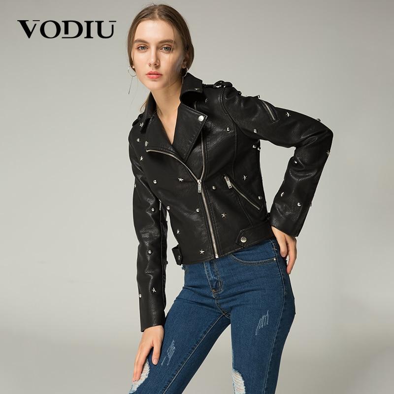 Jacket Coat Women Faux Leather Jacket 2019 Autumn Rivet Zipper Jackets Female Coats Womens Slim Punk Style Leather Jacket Coats