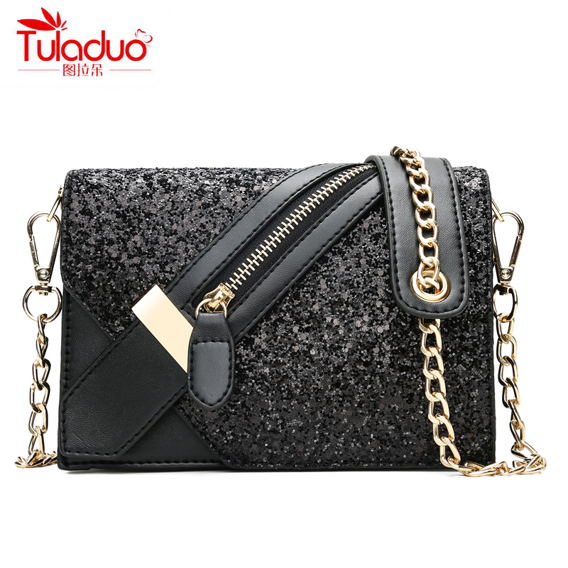 Fashion Sequined Women Shoulder Bags Chains Straps Women Crossbody Bags PU Leather Ladies Messenger Bag Famous Brand Bags 2018