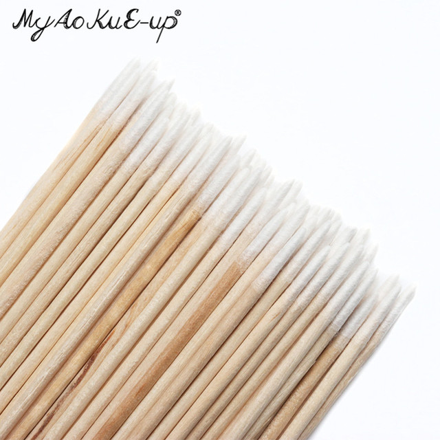300pcs Disposable Ultra-small Cotton Swab Lint Free Micro Brushes Wood Cotton Buds Swabs Eyelash Extension Glue Removing Tools 3