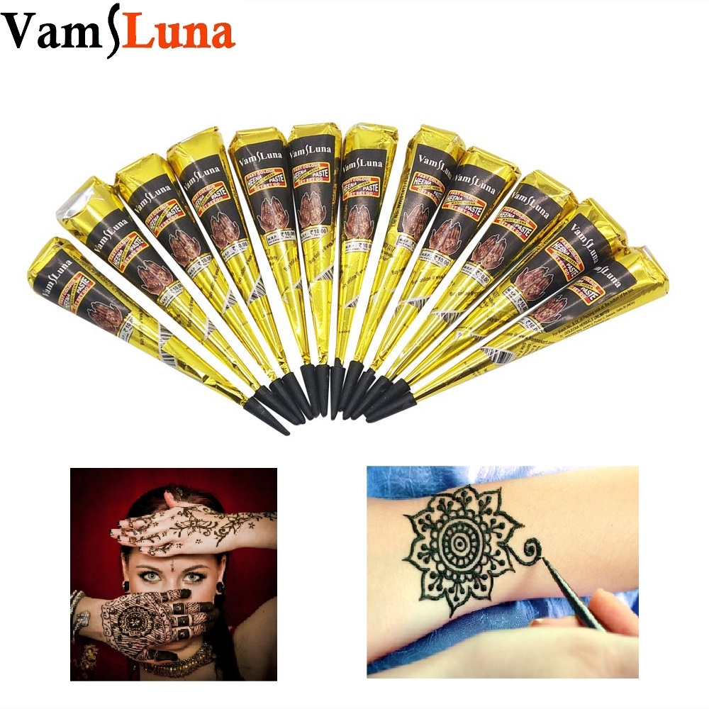 Black Henna Tattoo Paste: 12X Black Henna Paste For Body Painting Indian Temporary