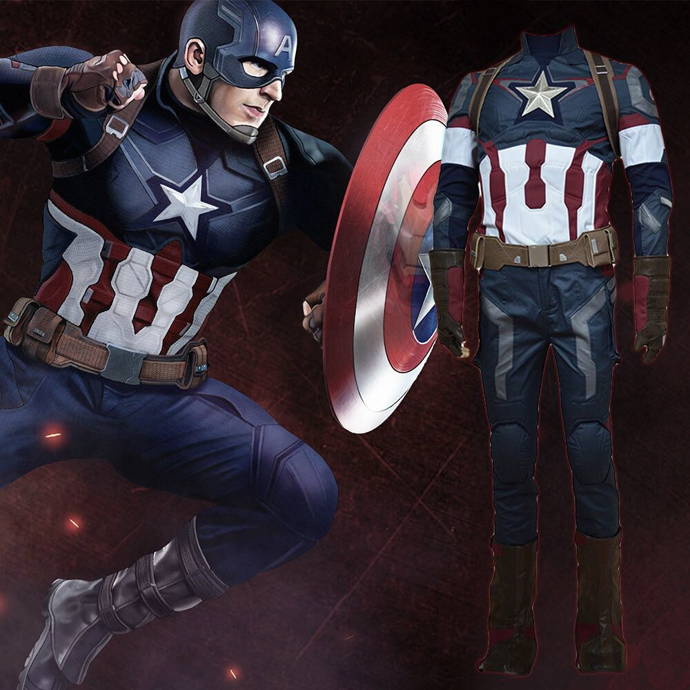 The Avengers Age of Ultron Captain America Cosplay Costume Steve Rogers Halloween Set Outfit Adult Superhero Halloween Costume