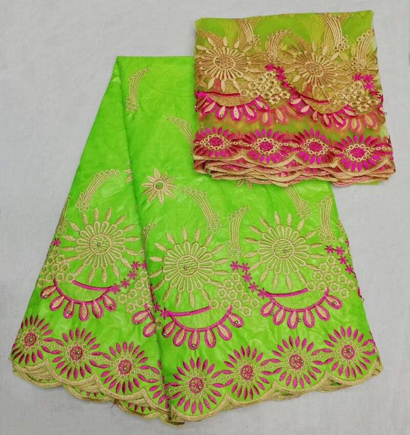 5 + 2 м/комплект самое новое прибытие Африканский Базен riche кружевной ткани в лимонно-зеленого цвета с вышивкой и бисером для платья ASL001