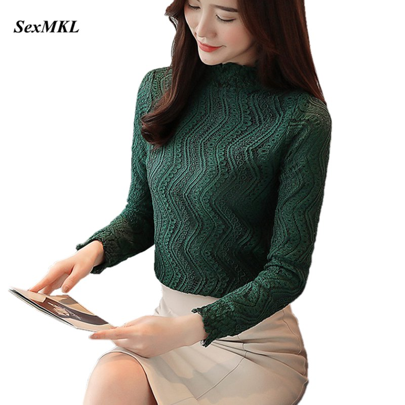 SEXMKL 2019 Autumn Women Lace Blouse Long Sleeve Winter Blouses And Tops Blusa Casual Female Clothing Lady Korean Office Blouse
