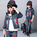 Spring fall Style Girls Red lips children clothing set Denim jacket + Jean pant 2 piece set For Kids Wear to 2 4 6 8 10 12 Year