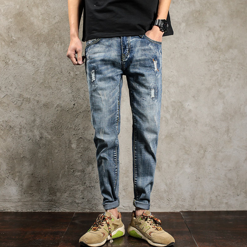 ФОТО ZEESHANT Plus Size 40 New Jeans Mens Straight Casual Pants Denim Distressed Ripped Cargo Jean Trousers in Men's Jeans