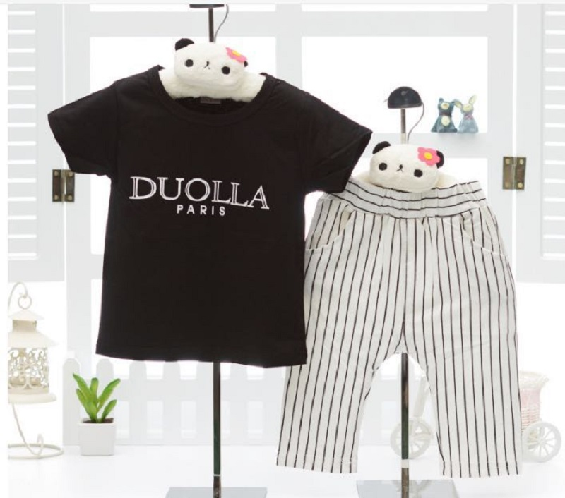 2018 Summer Newborn Short Sleeve Clothes Set Baby Boy Clothe Letter Print 2Pcs Infant Clothing Costume T-Shirt + Striped Pants