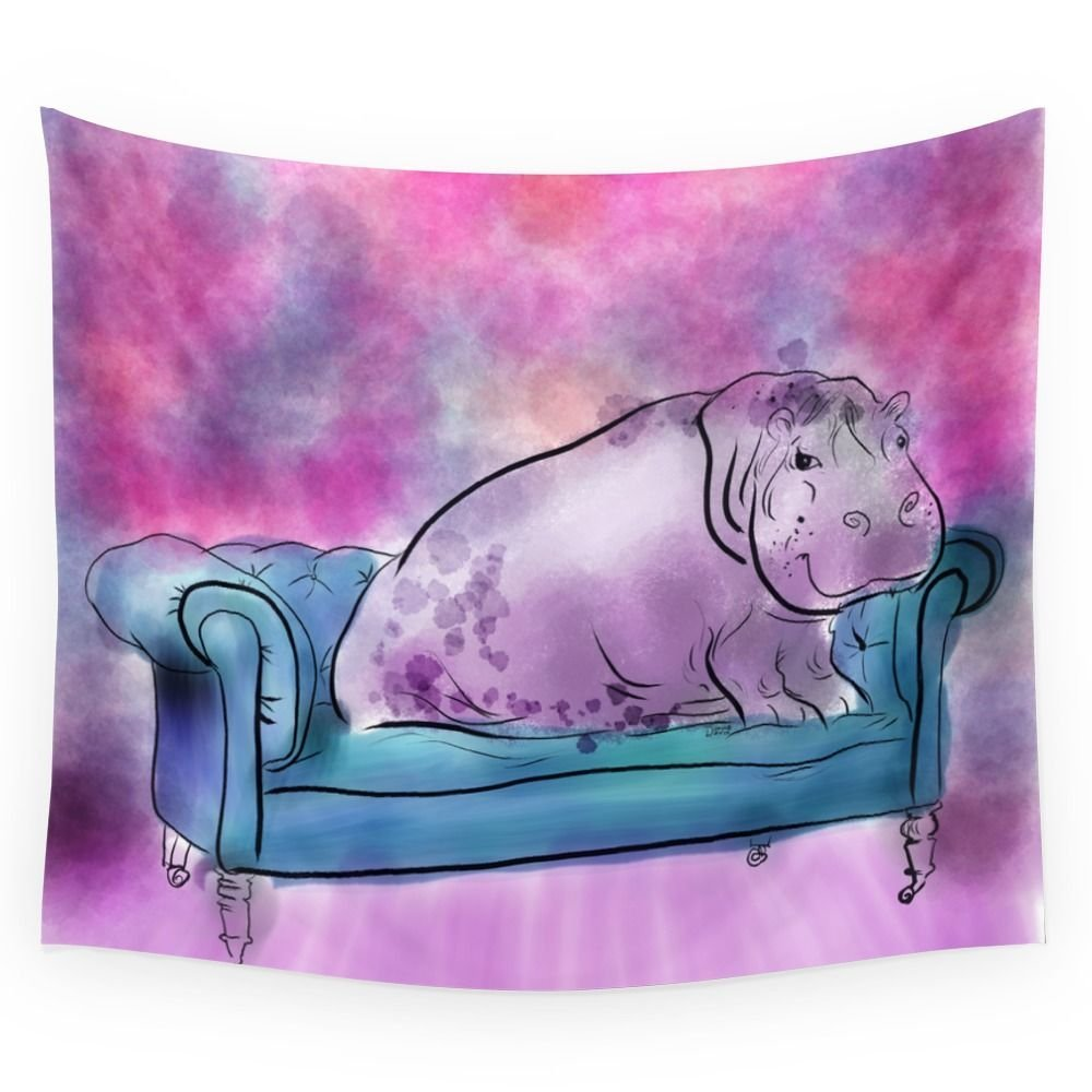 Animals In Chairs #9 Variations On A Theme Hippo Wall Tapestry Wall Hanging Tapestry for Home Psychedelic Bedspread Art Carpet