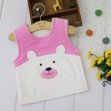 Children Tops for 1-2 years old baby Thick Double Layer Coral fleece inside Velour outside Warm Little Q Sleeveless Shirts 2019